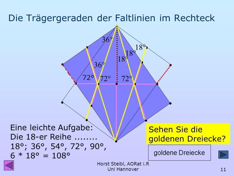 Horst Steibl, AORat i.R Uni Hannover10 Falten einer Linie auf eine nicht parallele Linie heißt: Falten der Winkelhalbierenden der Trägergeraden TRÄGER