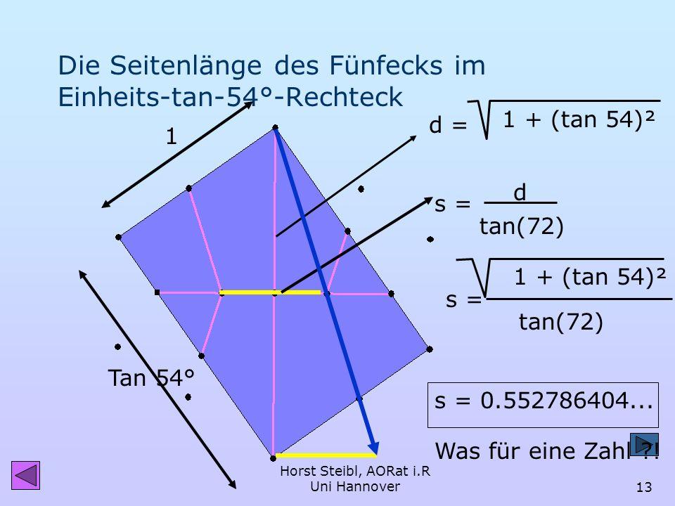 Horst Steibl, AORat i.R Uni Hannover12 18° 72° 36° 108° Die goldenen Dreiecke 72° 36° DynaGeo