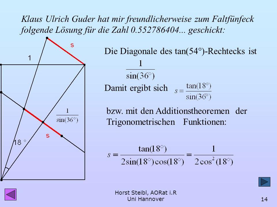Horst Steibl, AORat i.R Uni Hannover13 Die Seitenlänge des Fünfecks im Einheits-tan-54°-Rechteck 1 s = d tan(72) d = 1 + (tan 54)² tan(72) s = s = 0.5
