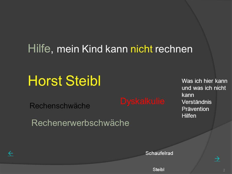 Steibl 2 Hilfe, mein Kind kann nicht rechnen Horst Steibl Rechenschwäche Rechenerwerbschwäche Dyskalkulie Schaufelrad Was ich hier kann und was ich ni