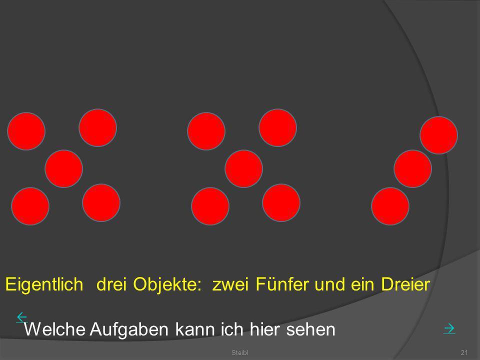 Eigentlich drei Objekte: zwei Fünfer und ein Dreier Steibl21 Welche Aufgaben kann ich hier sehen