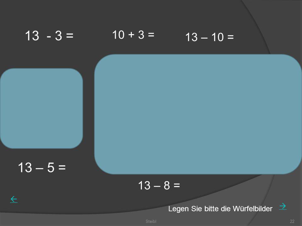 Steibl22 13 - 3 = 10 + 3 = 13 – 5 = 13 – 10 = 13 – 8 = Legen Sie bitte die Würfelbilder