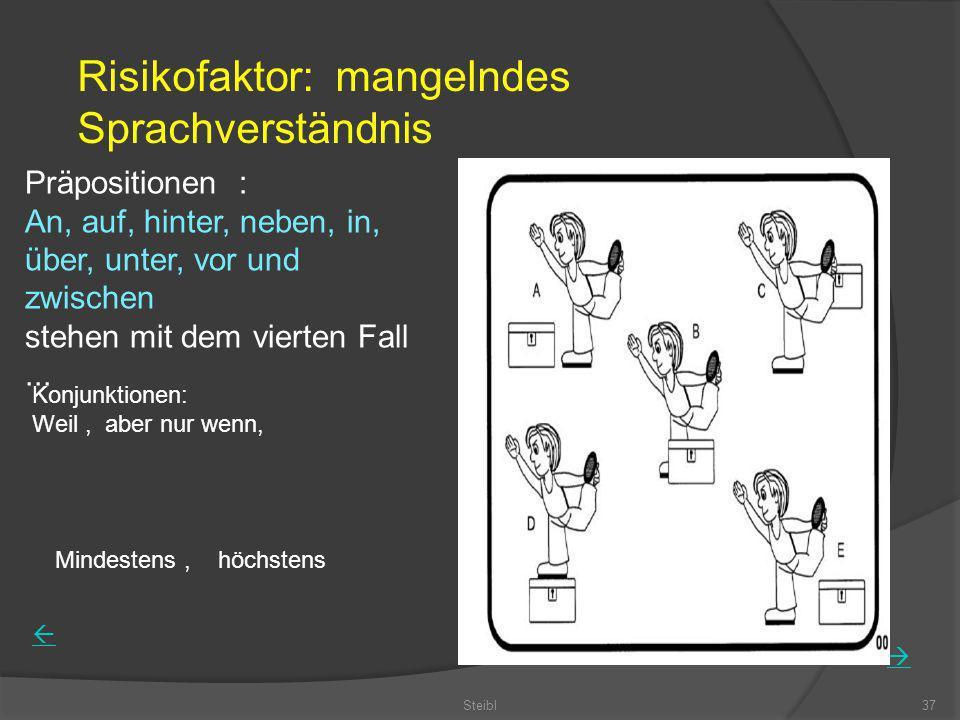 Steibl37 Präpositionen : An, auf, hinter, neben, in, über, unter, vor und zwischen stehen mit dem vierten Fall... Risikofaktor: mangelndes Sprachverst