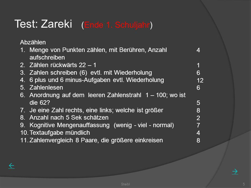 Steibl5 Test: Zareki (Ende 1. Schuljahr) Abzählen 1.Menge von Punkten zählen, mit Berühren, Anzahl aufschreiben 2.Zählen rückwärts 22 – 1 3.Zahlen sch