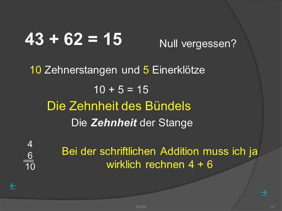 Steibl51 43 + 62 = 15 Null vergessen? 10 Zehnerstangen und 5 Einerklötze 10 + 5 = 15 Die Zehnheit der Stange Bei der schriftlichen Addition muss ich j