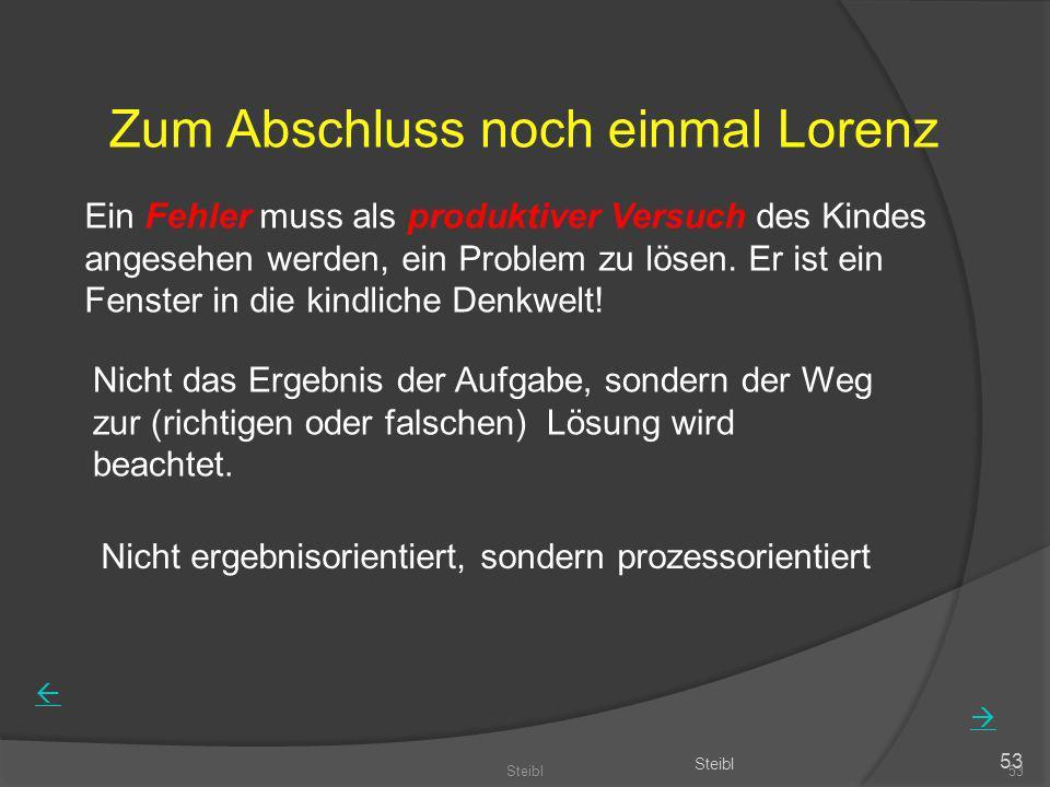 Steibl53 Steibl 53 Zum Abschluss noch einmal Lorenz Ein Fehler muss als produktiver Versuch des Kindes angesehen werden, ein Problem zu lösen. Er ist