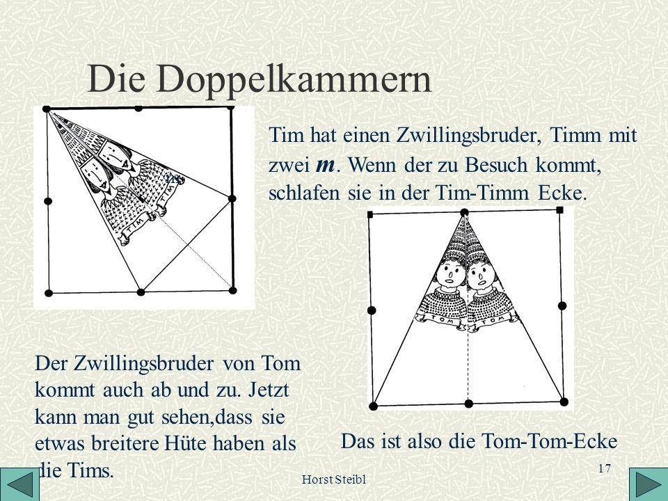 Horst Steibl 17 Die Doppelkammern Tim hat einen Zwillingsbruder, Timm mit zwei m. Wenn der zu Besuch kommt, schlafen sie in der Tim-Timm Ecke. Der Zwi