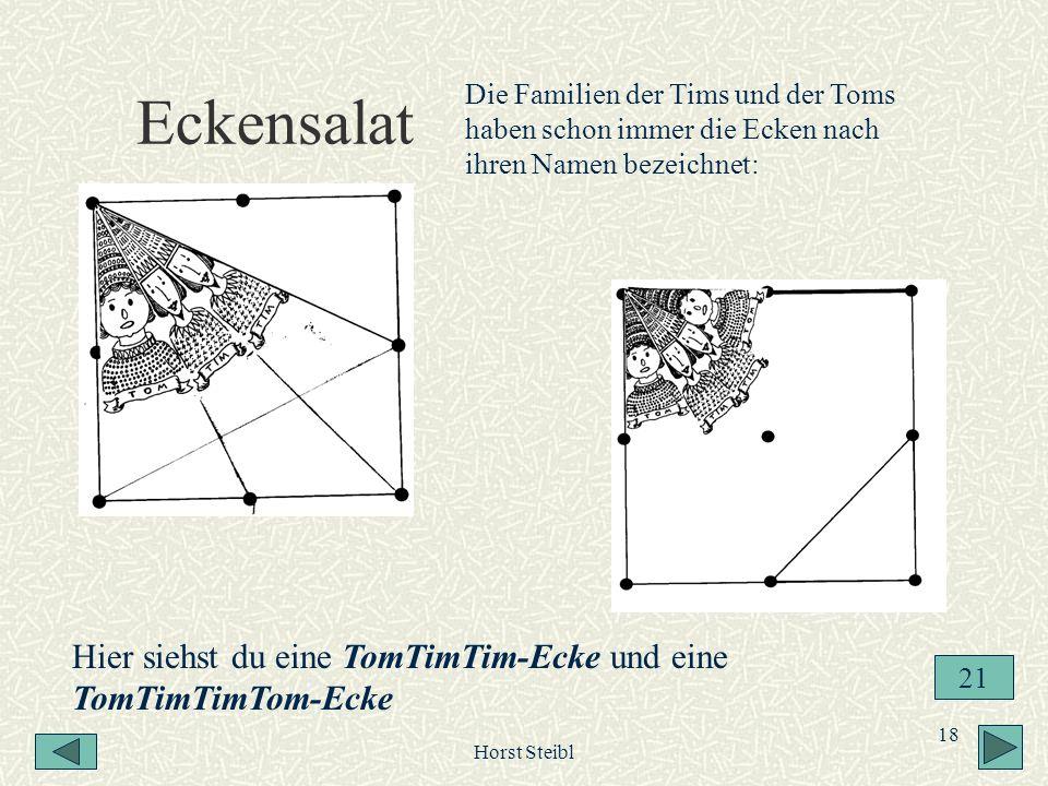 Horst Steibl 18 Eckensalat Hier siehst du eine TomTimTim-Ecke und eine TomTimTimTom-Ecke Die Familien der Tims und der Toms haben schon immer die Ecke