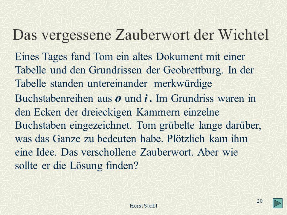 Horst Steibl 20 Das vergessene Zauberwort der Wichtel Eines Tages fand Tom ein altes Dokument mit einer Tabelle und den Grundrissen der Geobrettburg.