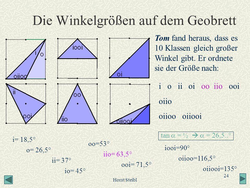 Horst Steibl 24 Die Winkelgrößen auf dem Geobrett Tom fand heraus, dass es 10 Klassen gleich großer Winkel gibt. Er ordnete sie der Größe nach: i= 18,