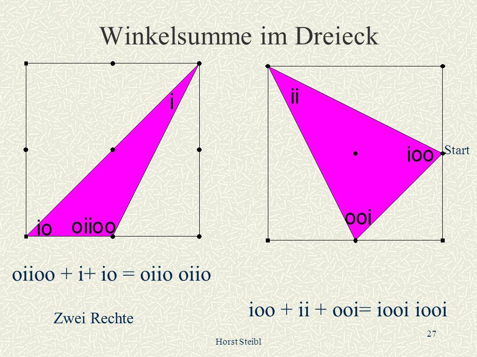 Horst Steibl 27 Winkelsumme im Dreieck oiioo + i+ io = oiio oiio Start ioo + ii + ooi= iooi iooi Zwei Rechte