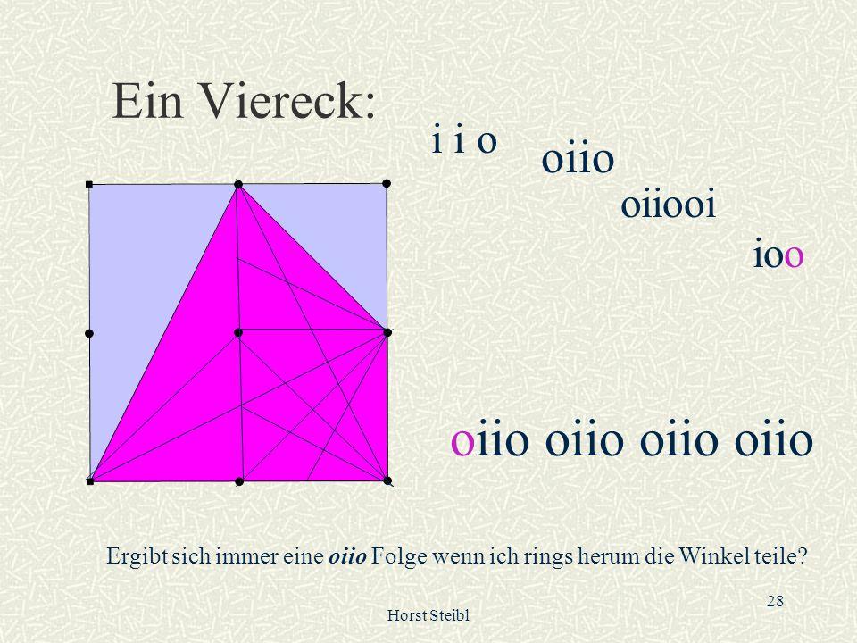 Horst Steibl 28 Ein Viereck: i i o oiio oiiooi ioo oiio oiio Ergibt sich immer eine oiio Folge wenn ich rings herum die Winkel teile?