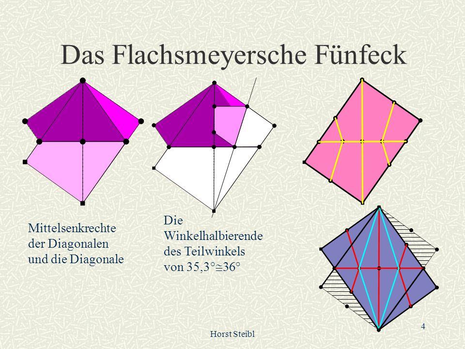 Horst Steibl 5 1 / 5 R als Winkelmaß Die Diagonale teilt den rechten Winkel in 35,3...° + 45,6...° Halbieren Sie die 36° Winkel, so ergibt sich eine Fünftelung von R.