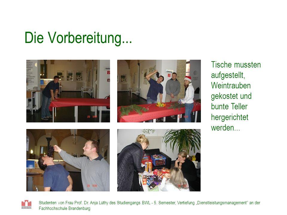 Studenten von Frau Prof. Dr. Anja Lüthy des Studiengangs BWL - 5. Semester, Vertiefung Dienstleistungsmanagement an der Fachhochschule Brandenburg Die