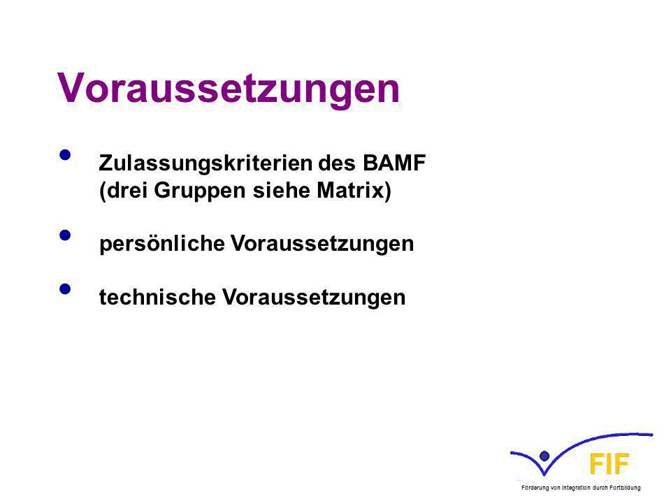 Voraussetzungen Zulassungskriterien des BAMF (drei Gruppen siehe Matrix) persönliche Voraussetzungen technische Voraussetzungen Förderung von Integrat