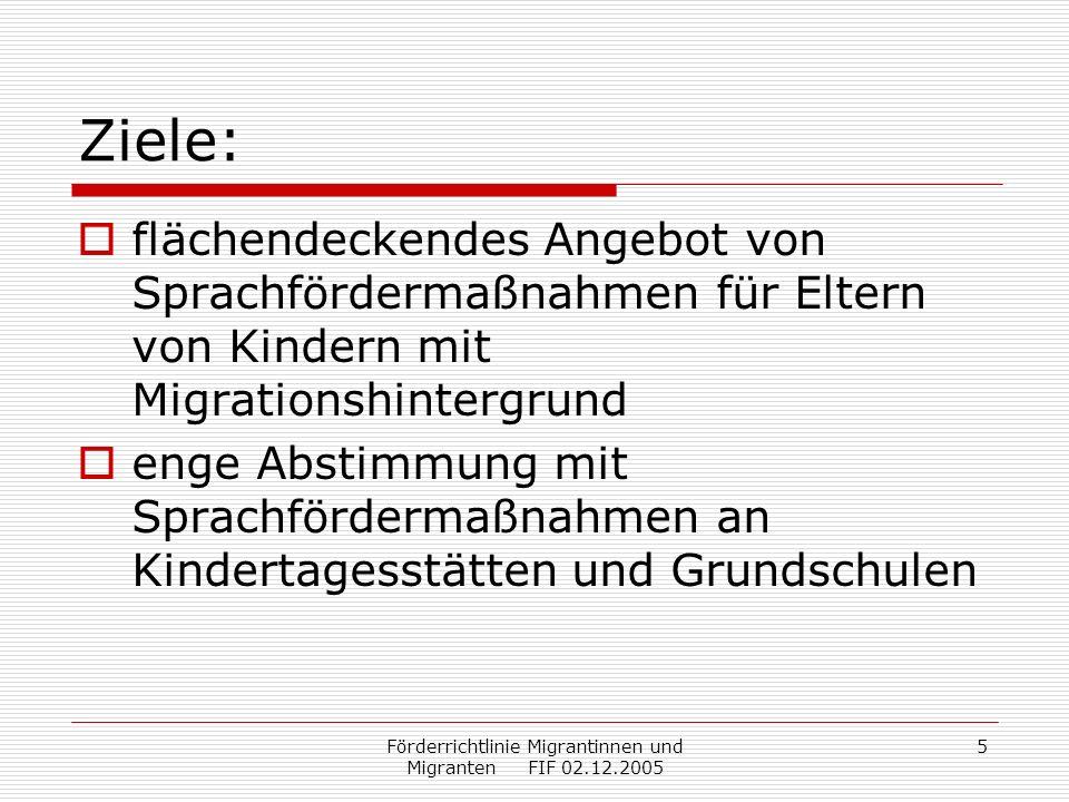 Förderrichtlinie Migrantinnen und Migranten FIF 02.12.2005 6 Gegenstand der Förderung: Sprachkurse für Erwachsene Geförderter Unterrichtsumfang: 60, 80 oder 100 Stunden.