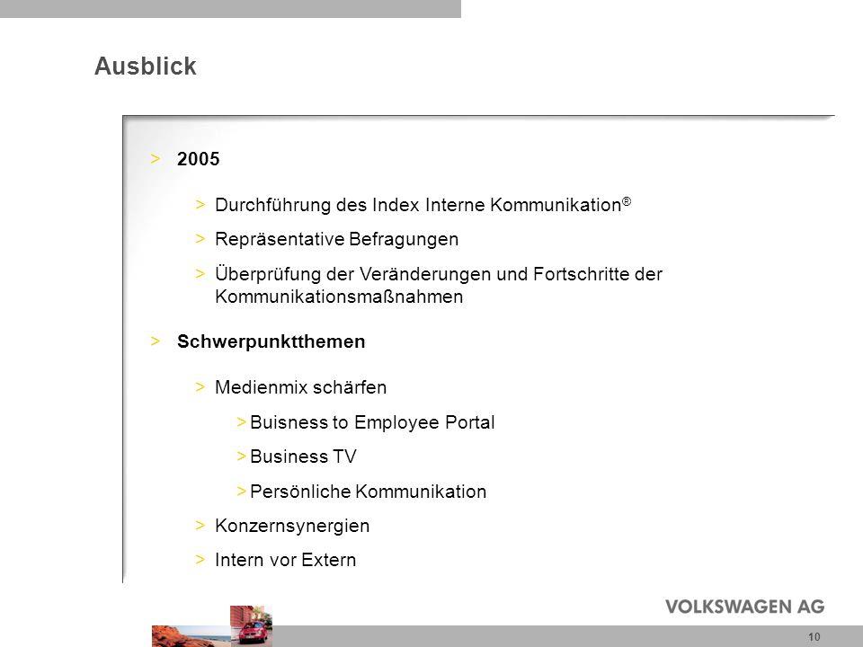 10 Ausblick >2005 >Durchführung des Index Interne Kommunikation ® >Repräsentative Befragungen >Überprüfung der Veränderungen und Fortschritte der Komm