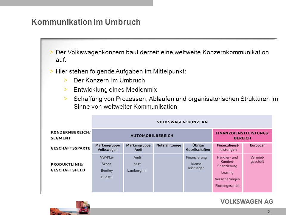 2 Kommunikation im Umbruch >Der Volkswagenkonzern baut derzeit eine weltweite Konzernkommunikation auf. >Hier stehen folgende Aufgaben im Mittelpunkt: