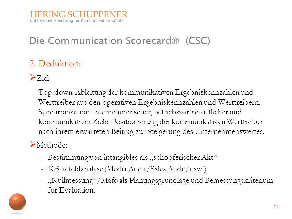 Die Communication Scorecard (CSC) 2. Deduktion: Ziel: Top-down-Ableitung der kommunikativen Ergebniskennzahlen und Werttreiber aus den operativen Erge