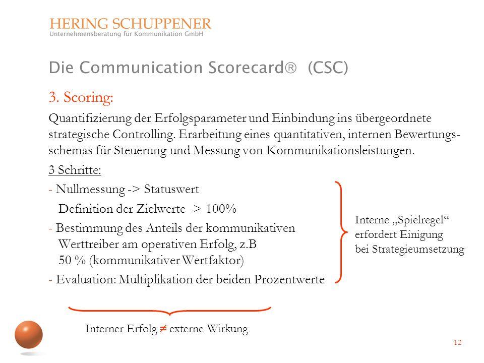 Die Communication Scorecard (CSC) 3. Scoring: Quantifizierung der Erfolgsparameter und Einbindung ins übergeordnete strategische Controlling. Erarbeit