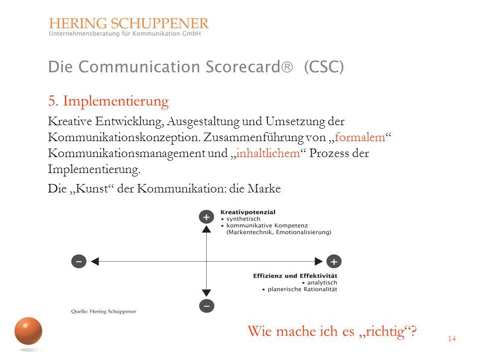 Die Communication Scorecard (CSC) 5. Implementierung Kreative Entwicklung, Ausgestaltung und Umsetzung der Kommunikationskonzeption. Zusammenführung v