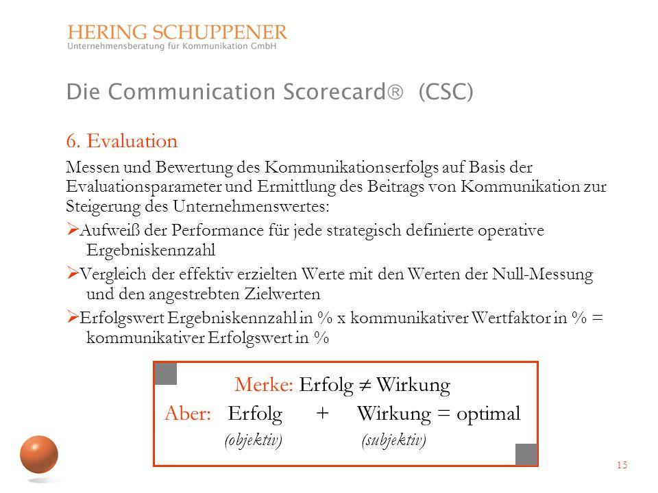 Die Communication Scorecard (CSC) 6. Evaluation Messen und Bewertung des Kommunikationserfolgs auf Basis der Evaluationsparameter und Ermittlung des B