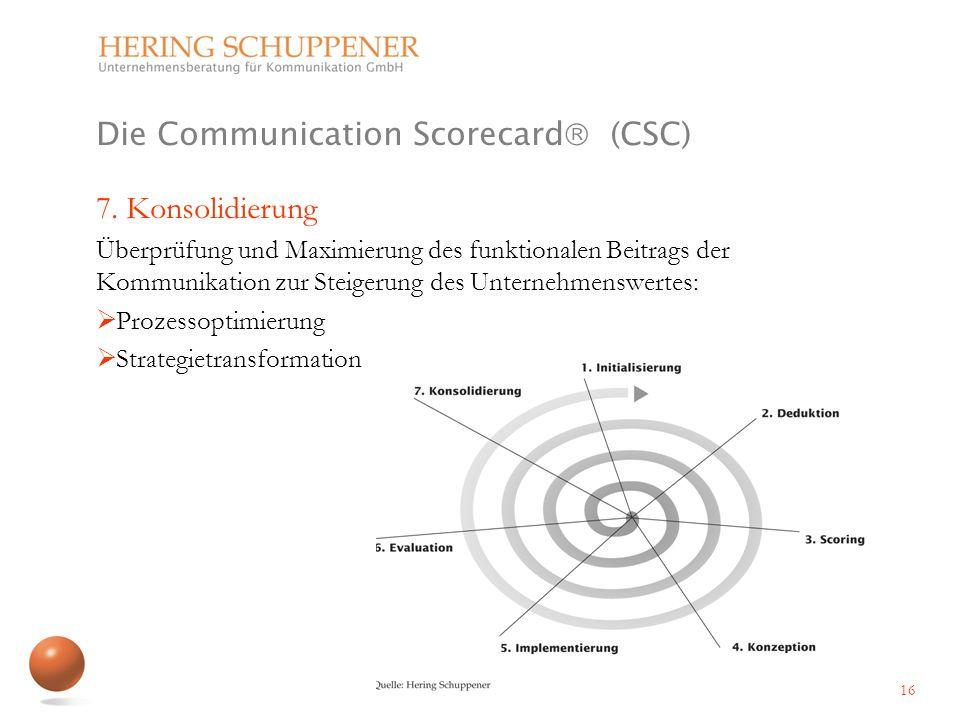 Die Communication Scorecard (CSC) 7. Konsolidierung Überprüfung und Maximierung des funktionalen Beitrags der Kommunikation zur Steigerung des Unterne
