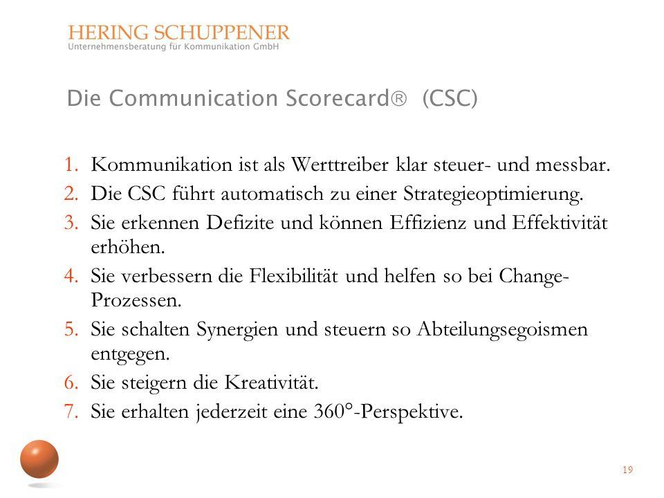 Die Communication Scorecard (CSC) 1.Kommunikation ist als Werttreiber klar steuer- und messbar. 2.Die CSC führt automatisch zu einer Strategieoptimier