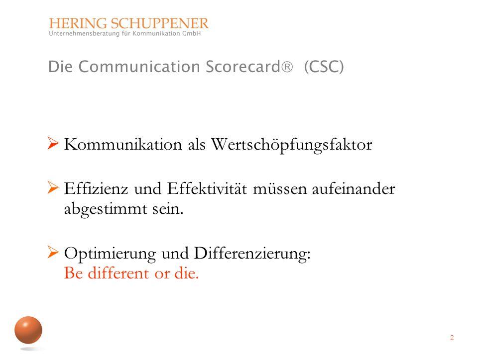 Die Communication Scorecard (CSC) Kommunikation als Wertschöpfungsfaktor Effizienz und Effektivität müssen aufeinander abgestimmt sein. Optimierung un