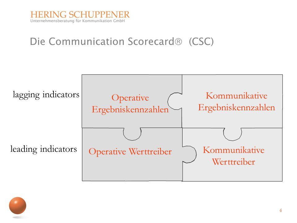 Operative Ergebniskennzahlen Kommunikative Ergebniskennzahlen Operative Werttreiber lagging indicators leading indicators 6 Kommunikative Werttreiber