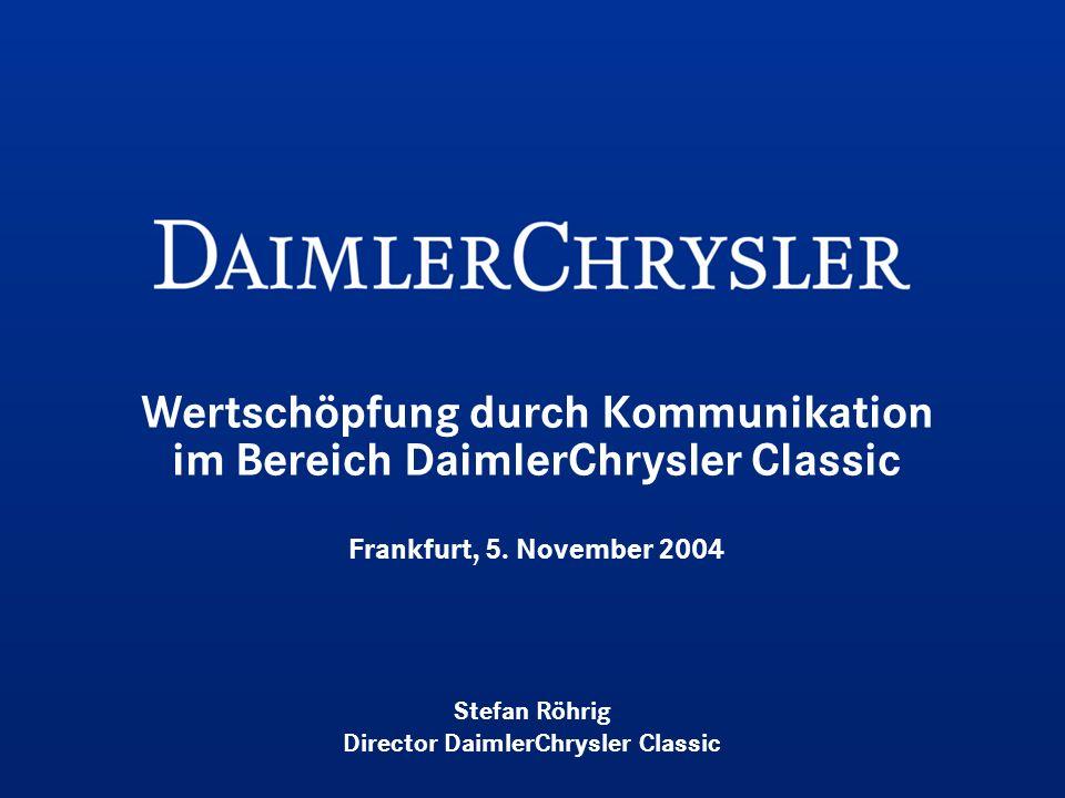 Wertschöpfung durch Kommunikation im Bereich DaimlerChrysler Classic Frankfurt, 5. November 2004 Stefan Röhrig Director DaimlerChrysler Classic