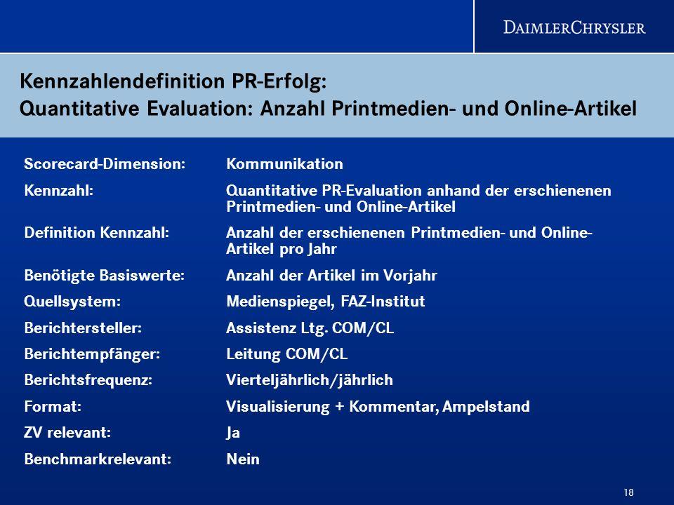 18 Kennzahlendefinition PR-Erfolg: Quantitative Evaluation: Anzahl Printmedien- und Online-Artikel Scorecard-Dimension: Kommunikation Kennzahl: Quanti