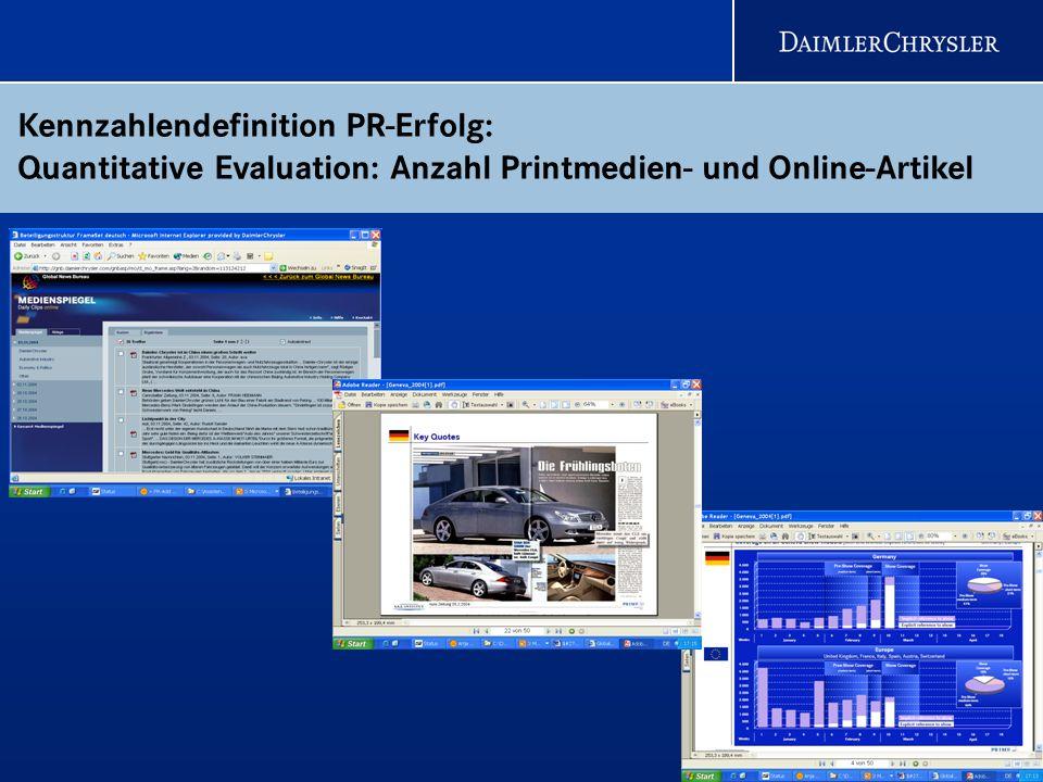 19 Kennzahlendefinition PR-Erfolg: Quantitative Evaluation: Anzahl Printmedien- und Online-Artikel