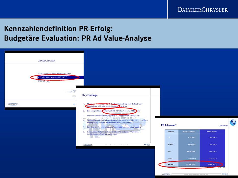 23 Kennzahlendefinition PR-Erfolg: Budgetäre Evaluation: PR Ad Value-Analyse