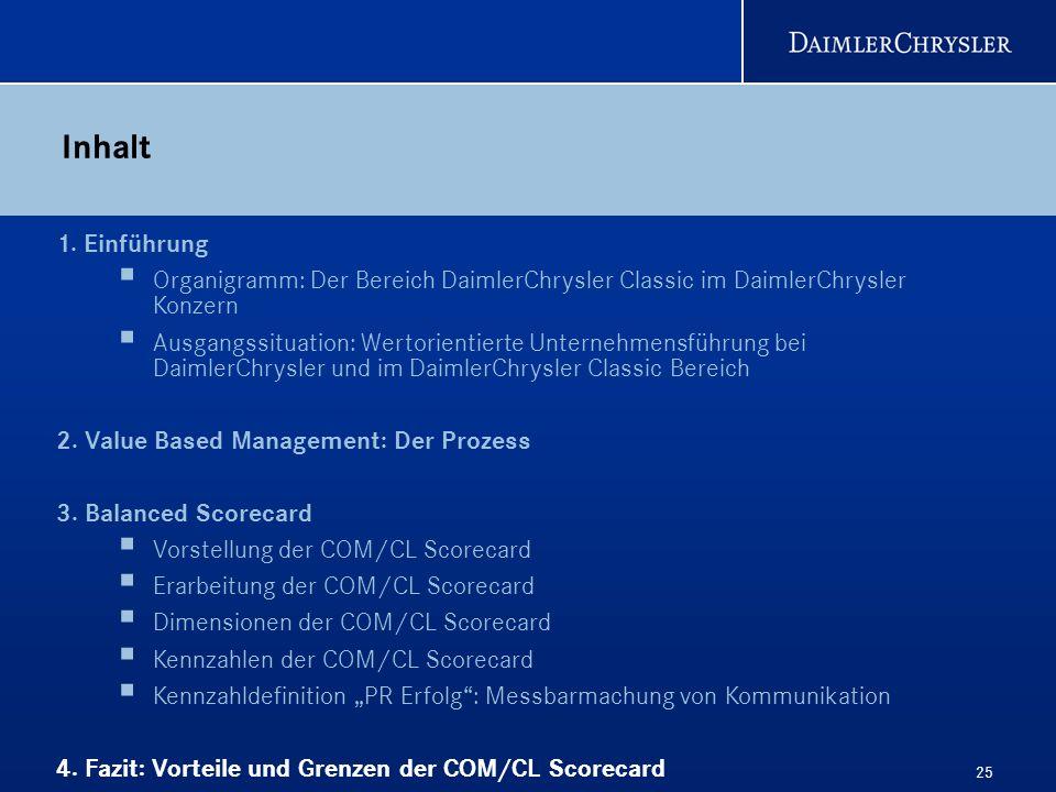 25 Inhalt 1. Einführung Organigramm: Der Bereich DaimlerChrysler Classic im DaimlerChrysler Konzern Ausgangssituation: Wertorientierte Unternehmensfüh