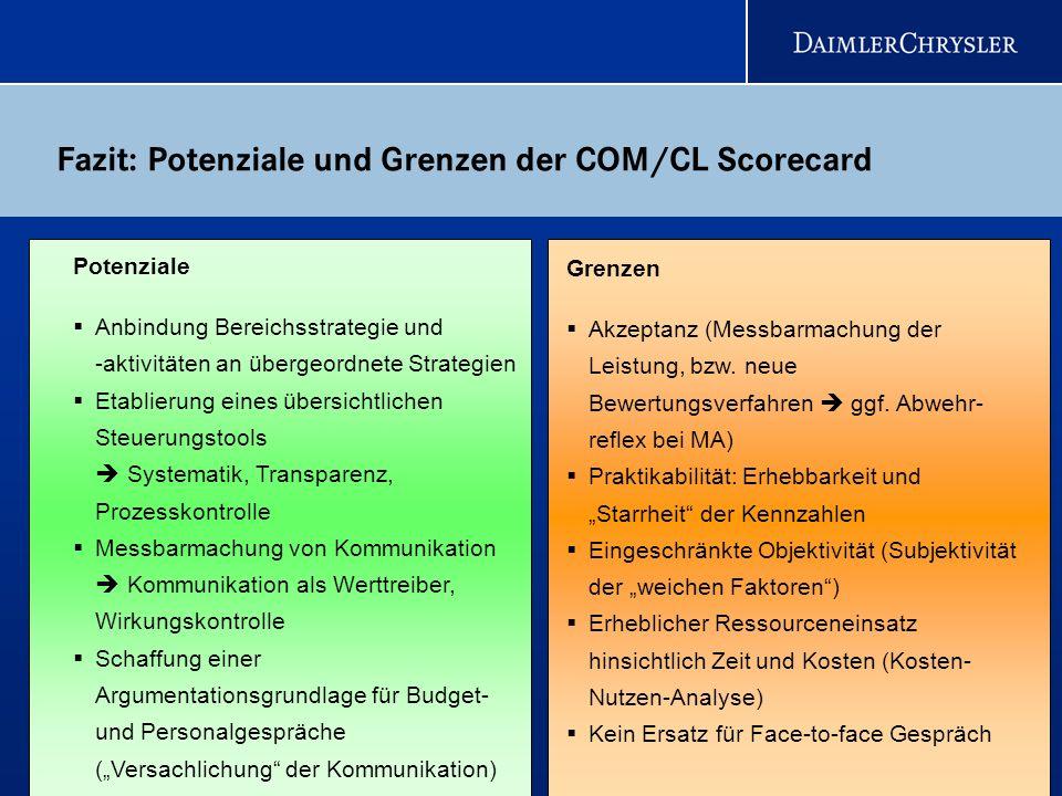 26 Fazit: Potenziale und Grenzen der COM/CL Scorecard Potenziale Anbindung Bereichsstrategie und -aktivitäten an übergeordnete Strategien Etablierung