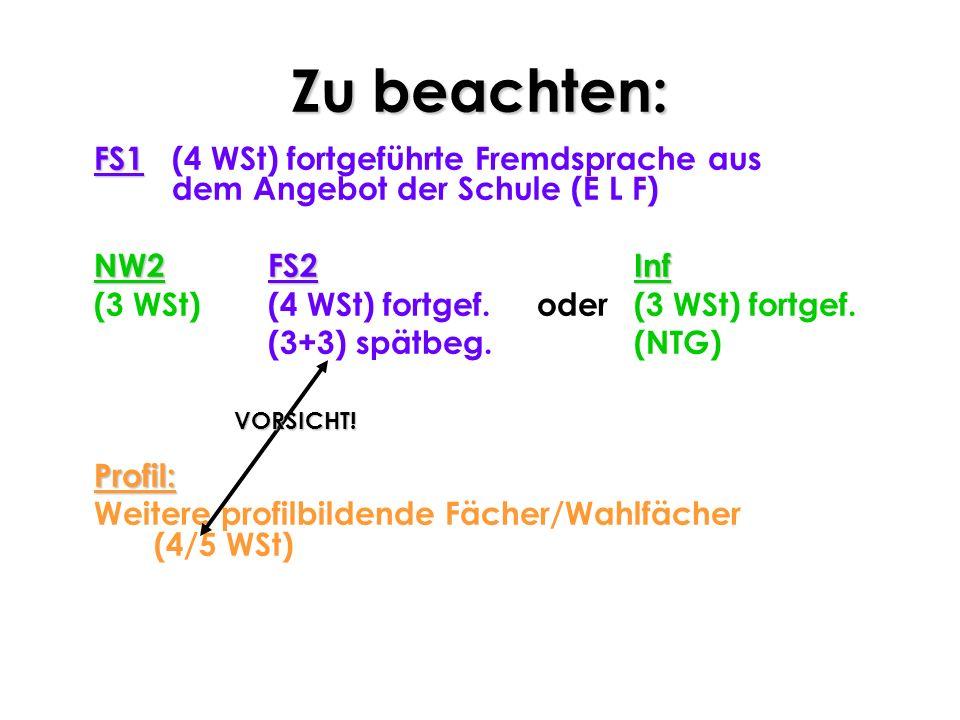 Zu beachten: FS1 FS1 (4 WSt) fortgeführte Fremdsprache aus dem Angebot der Schule (E L F) NW2FS2Inf NW2 FS2Inf (3 WSt) (4 WSt) fortgef.