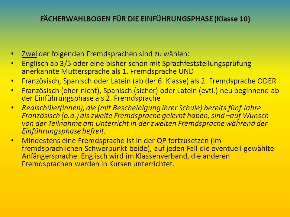 FÄCHERWAHLBOGEN FÜR DIE EINFÜHRUNGSPHASE (Klasse 10) Zwei der folgenden Fremdsprachen sind zu wählen: Englisch ab 3/5 oder eine bisher schon mit Sprac