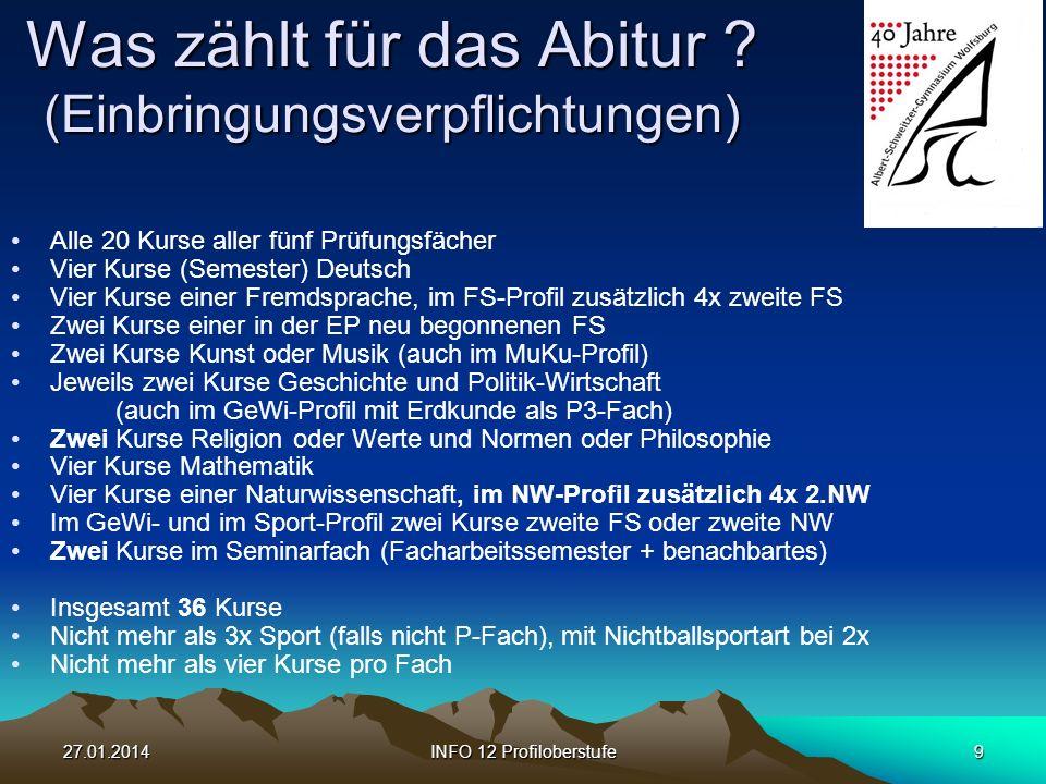 27.01.2014INFO 12 Profiloberstufe9 Was zählt für das Abitur .