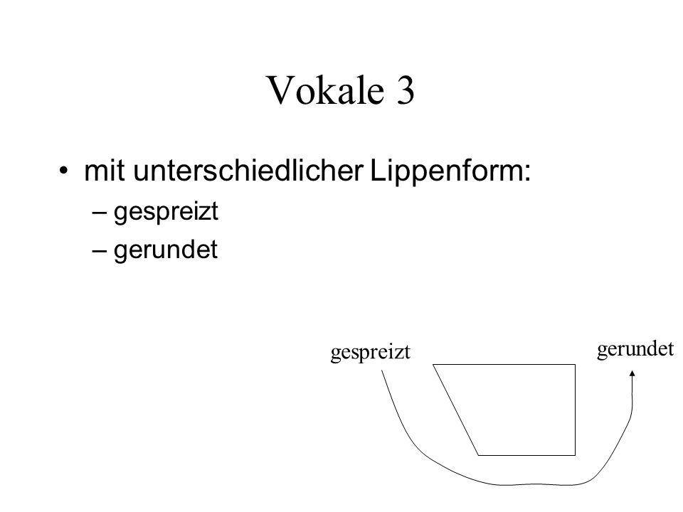 Vokale 3 mit unterschiedlicher Lippenform: – gespreizt – gerundet gespreizt gerundet