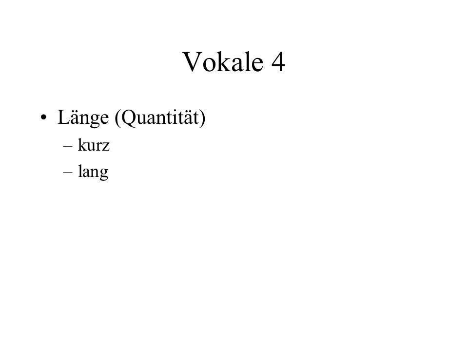 Vokale 4 Länge (Quantität) –kurz –lang