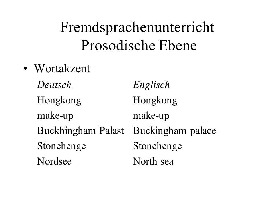 Fremdsprachenunterricht Prosodische Ebene Wortakzent DeutschEnglischHongkongmake-up Buckhingham PalastBuckingham palaceStonehenge NordseeNorth sea