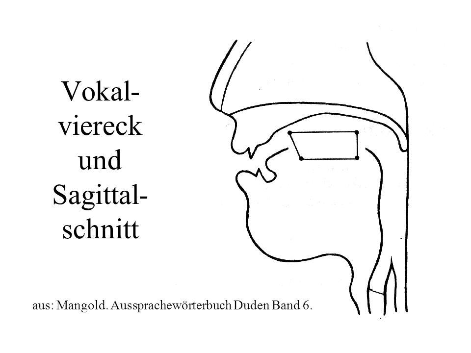 Vokal- viereck und Sagittal- schnitt aus: Mangold. Aussprachewörterbuch Duden Band 6.
