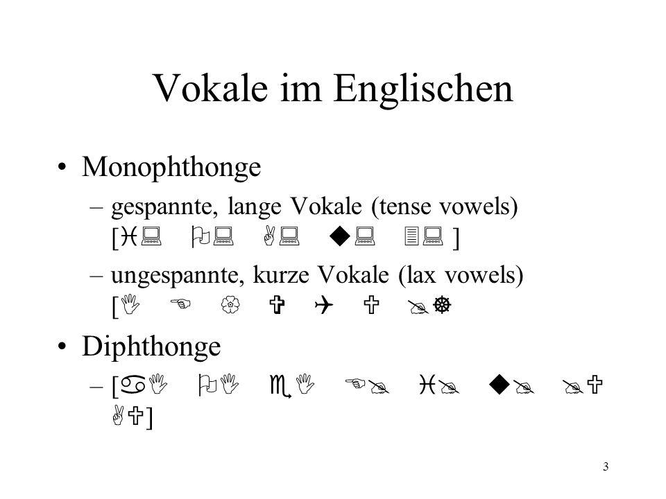 3 Vokale im Englischen Monophthonge –gespannte, lange Vokale (tense vowels) [ i: O: A: u: 3: ] –ungespannte, kurze Vokale (lax vowels) [ I E { V Q U @] Diphthonge –[ aI OI eI E@ i@ u@ @U AU ]