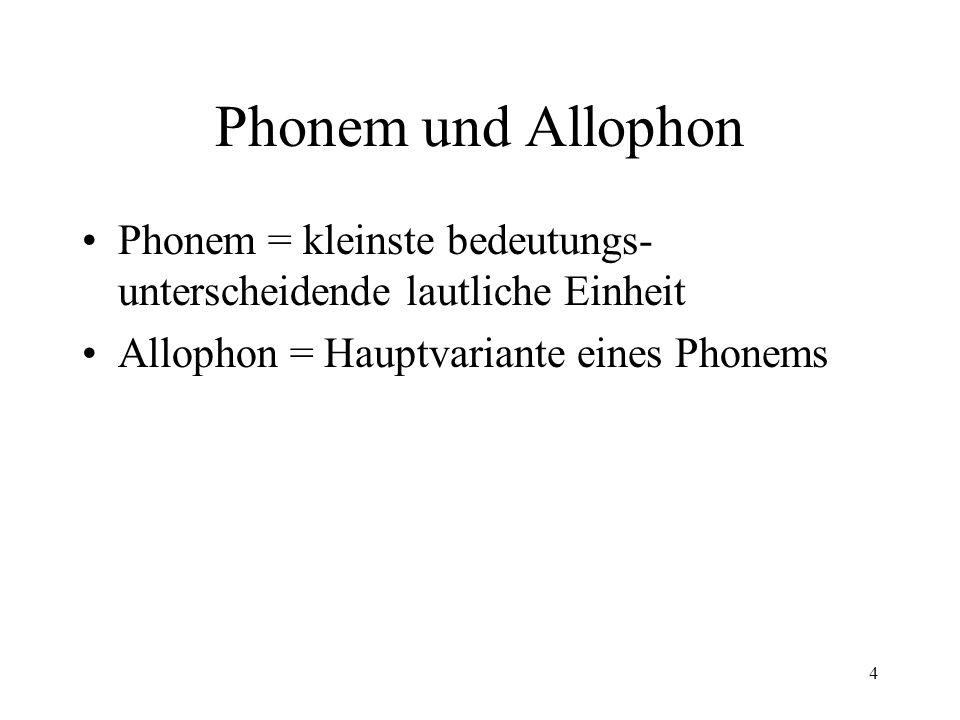 4 Phonem und Allophon Phonem = kleinste bedeutungs- unterscheidende lautliche Einheit Allophon = Hauptvariante eines Phonems