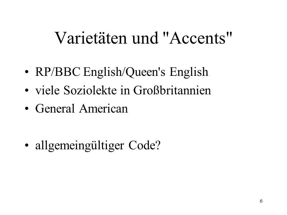 6 Varietäten und Accents RP/BBC English/Queen s English viele Soziolekte in Großbritannien General American allgemeingültiger Code
