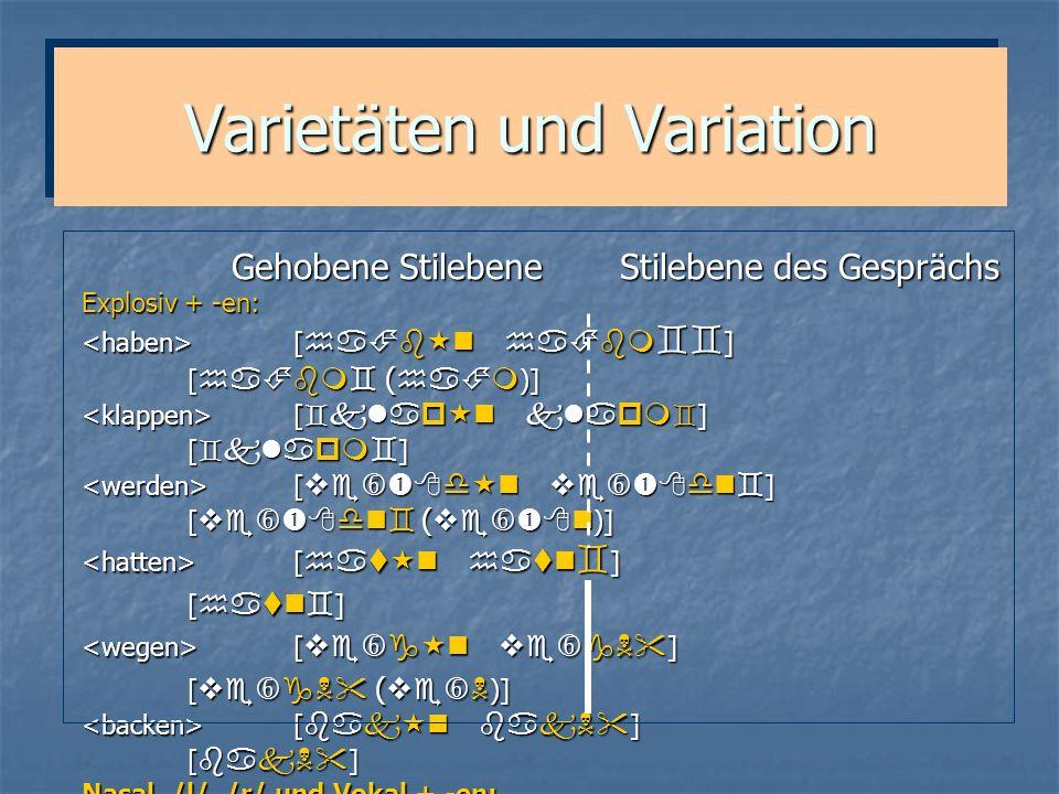 Varietäten und Variation Gehobene Stilebene Stilebene des Gesprächs Gehobene Stilebene Stilebene des Gesprächs Explosiv + -en: [ ] [ ( )] [ ] [ ( )] [
