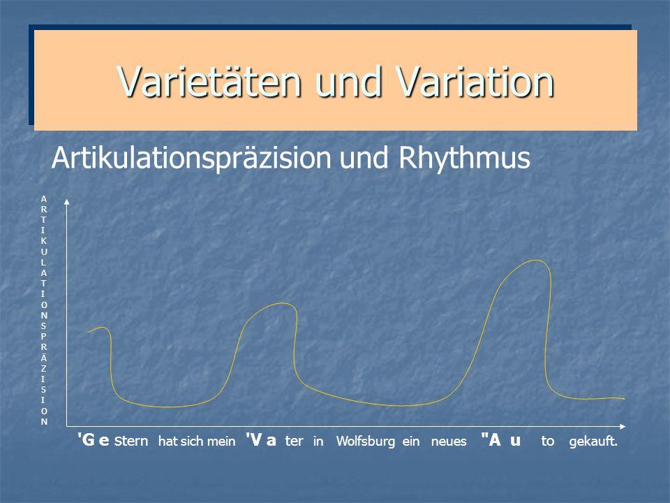 Varietäten und Variation 'G e s tern hat sich mein 'V a ter in Wolfsburg ein neues