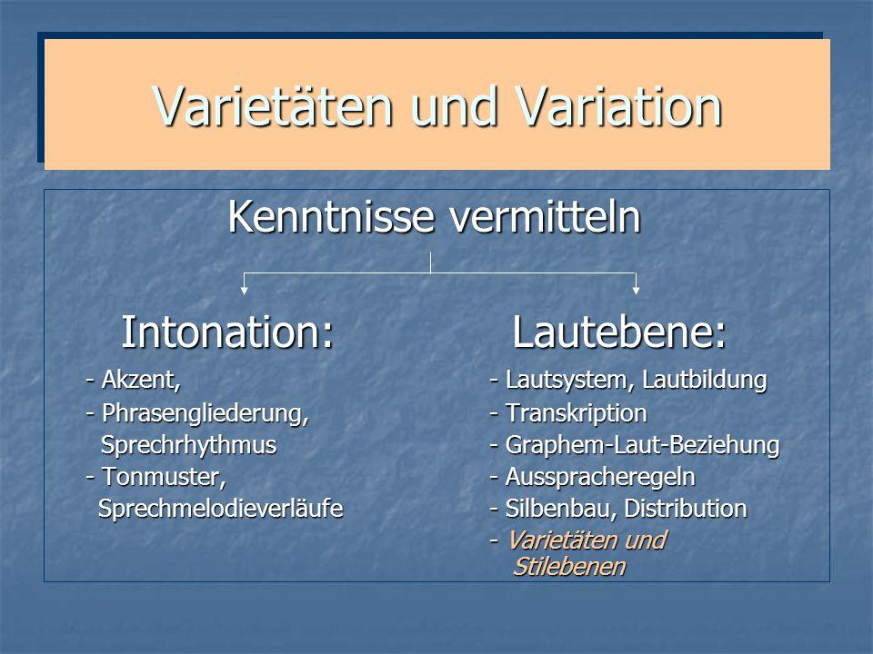 Varietäten und Variation Kenntnisse vermitteln Intonation: Lautebene: Intonation: Lautebene: - Akzent, - Lautsystem, Lautbildung - Phrasengliederung,