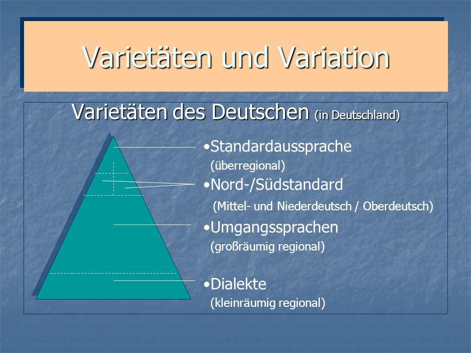 Varietäten und Variation Varietäten des Deutschen (in Deutschland) Standardaussprache (überregional) Nord-/Südstandard (Mittel- und Niederdeutsch / Ob